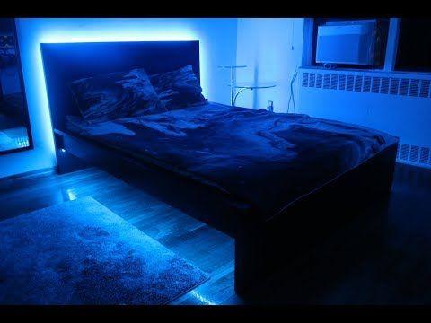 How To Install Led Strip Lights Under Bed Frame Bedroom Rgb Lighting Diy Homedecorating Led Lighting Bedroom Led Beds Led Bed Frame