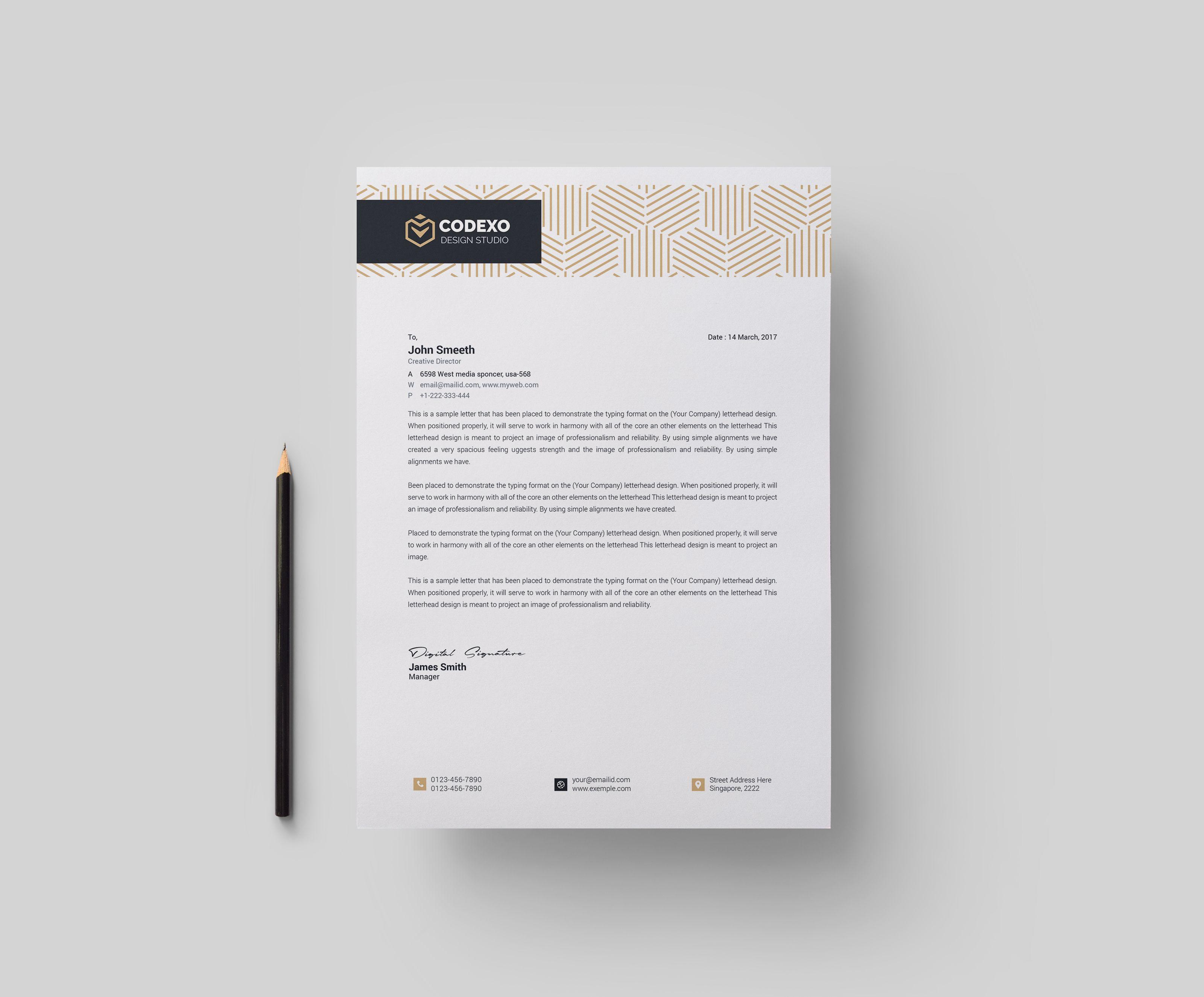 Demeter Stylish Corporate Letterhead Template Letterhead Design Inspiration Letterhead Template Letterhead Design