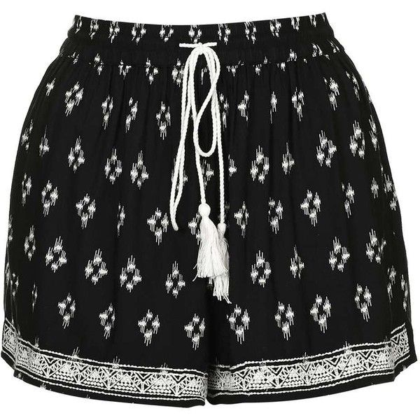 Indian Print Shorts by Band of Gypsies ($46) ❤ liked on Polyvore featuring shorts, relaxed fit shorts, relaxed shorts, boho shorts, rayon shorts and topshop