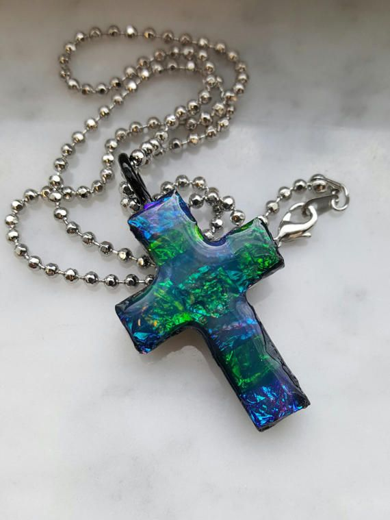 blue and green faux dicro Cross necklace made by PraiseAndPromises