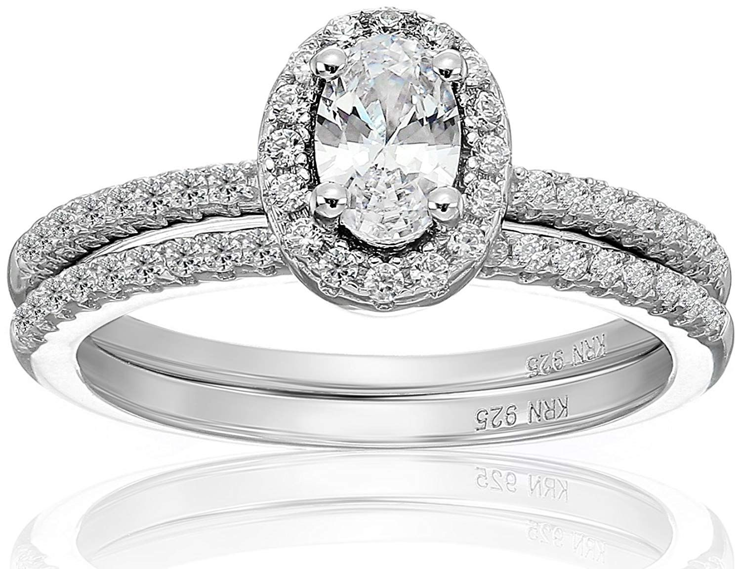 Amazon Collection Cubic Zirconia Oval Frame Bridal Set in