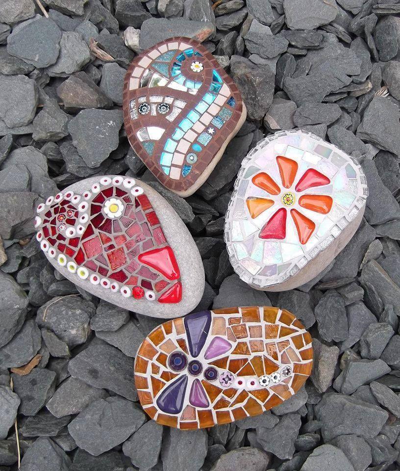 stones with mosaics