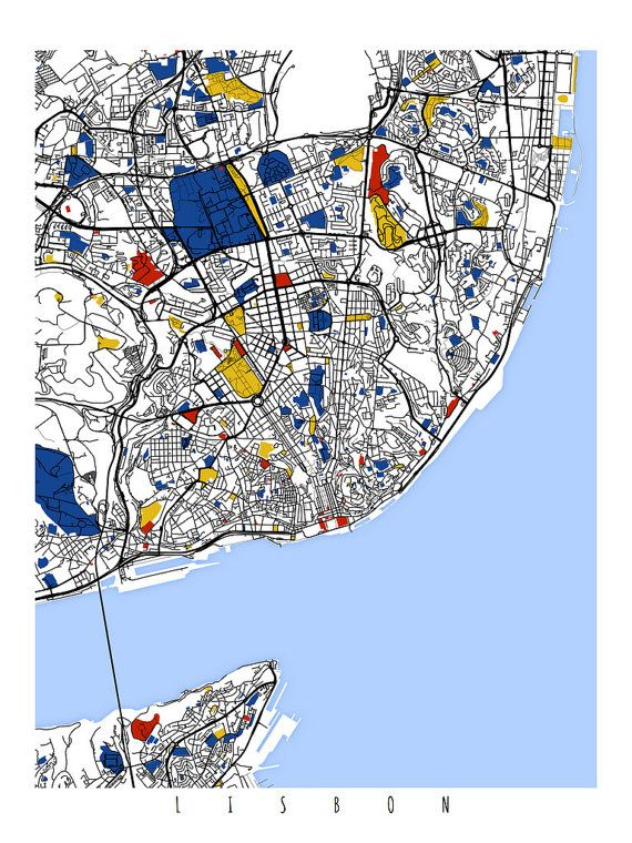 Lisbon Map Art Lisbon Portugal Wall Art Por MondrianMapArt A - Portugal map to print