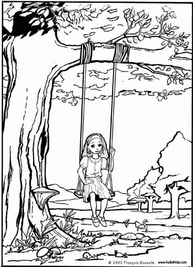 Girl On The Swing Coloring Page Spring Coloring Pages