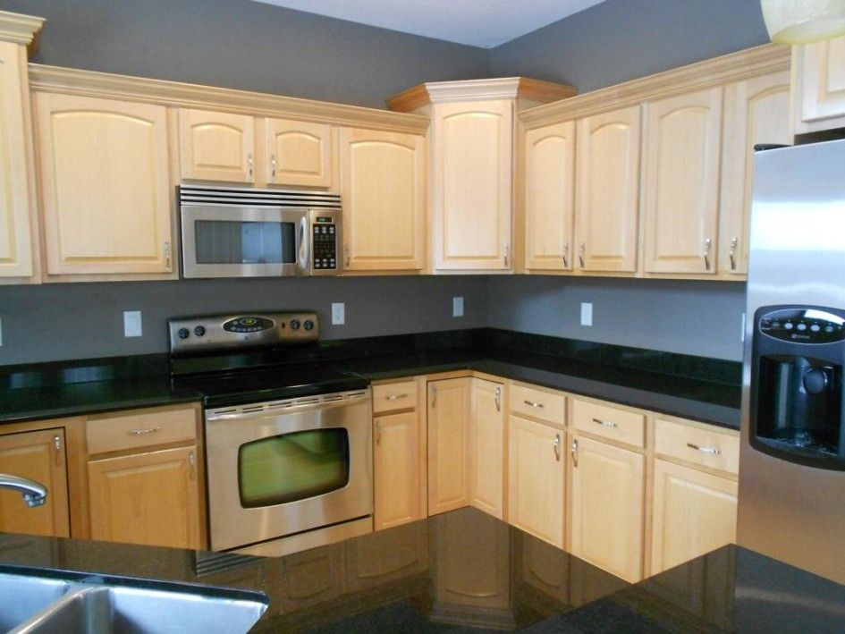 Kitchen, Natural Maple Kitchen Cabinet With Stainless ... on Gray Countertops With Maple Cabinets  id=88972