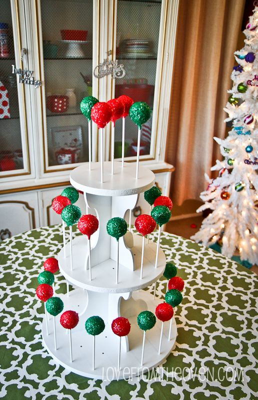 #Cakepop Stand - can also be used as a cupcake stand.  Info and giveaway at http://www.lovefromtheoven.com/2012/12/17/how-to-make-glitter-cake-pops-a-cupcake-stand-giveaway/