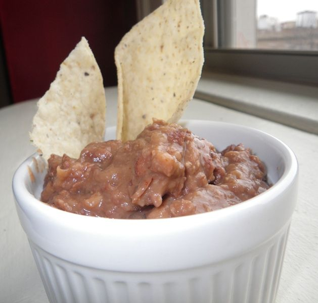 Bean dip: Cook beans with onions, oregano, cumin, some chipotle and then mashed them.