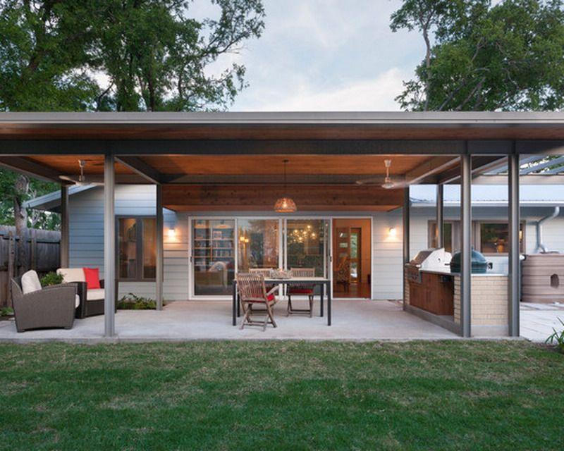 Contemporary Flat Roof Patio Cover Exterior Design Contemporary