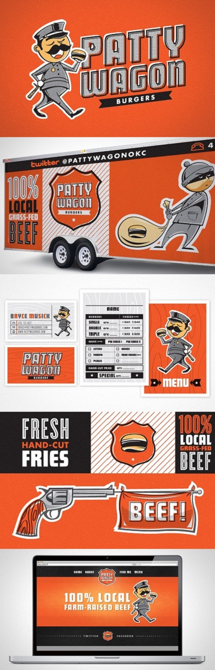 Patty Wagon Burgers logo, branding and identity by Foundry Collective