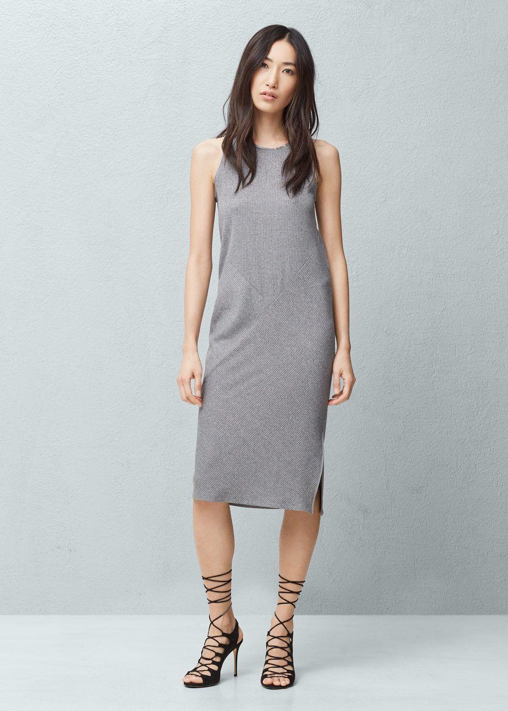 Vestido canalé metalizado - Mujer  f9a021711104