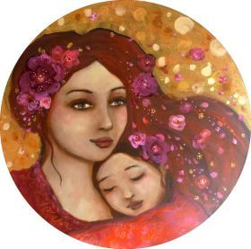 """Tendre mère-veilleuse  "" acrylic  on round canvas 40cm by Loetitia Pillault"