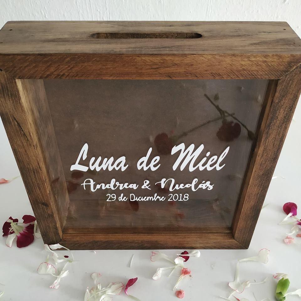 estilo vintage Personalizado De Madera Rústica media Cajón para bodas naturalstain