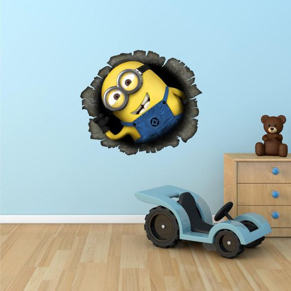 Full Colour Despicable Me Minion Wall Sticker Disney Boys Girls Bedroom Decal Mural 4 Wall Stickers On Etsy 12 68 Kids Room Minion Room Kids Room
