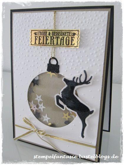 weihnachts sch ttelkarte in schwarz gold wei mit hirsch. Black Bedroom Furniture Sets. Home Design Ideas