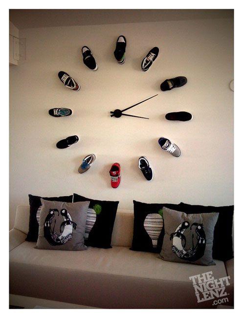 20 Unusual And Creative Diy Clocks Diy Clock Teenage Boy Room Shoe Wall
