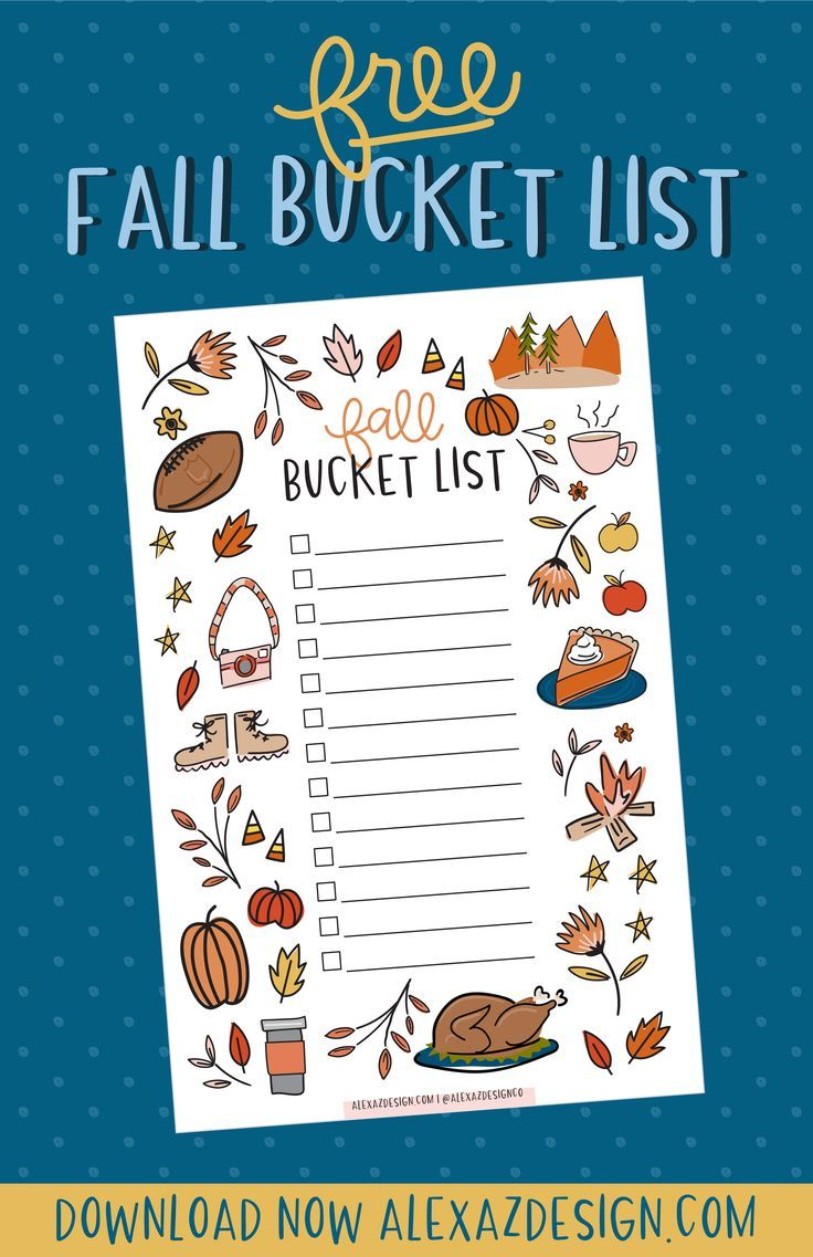 FREE bucket list for fall! Download and print in seconds