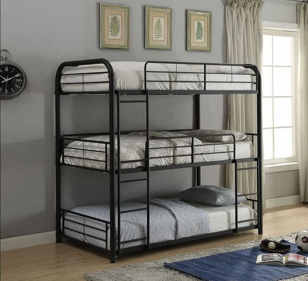 Best Cairo Sandy Black Metal Tube Twin Three Layer Bunk Bed By 400 x 300