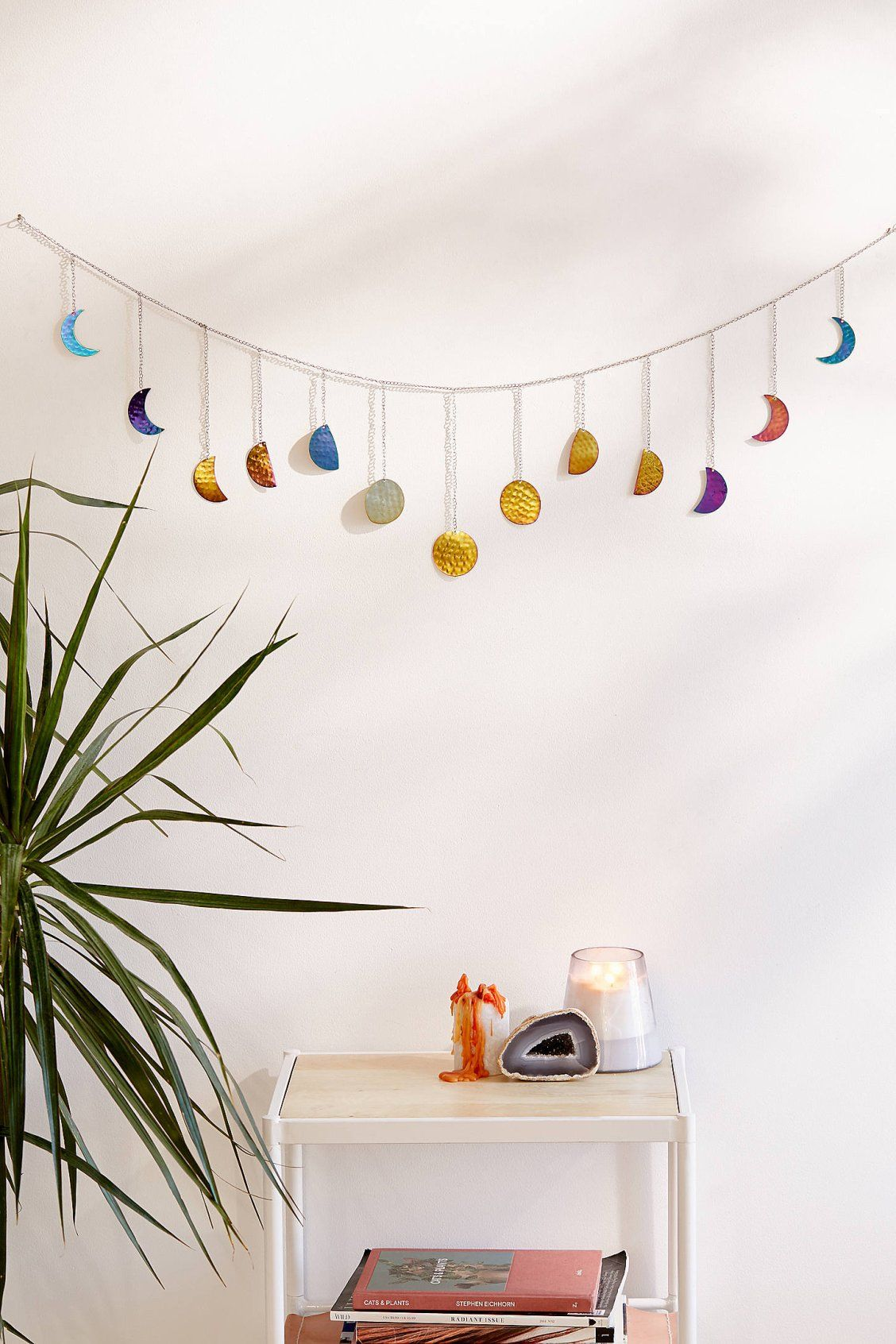 Hammered Metal Moon Cycle Banner Room Inspiration Apartment