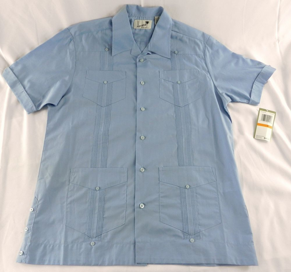 Mens New Havana Co. Short Sleeve Shirt Blue Eyes Button Down Light Blue Small S #HavanaShirtCo #ButtonFront
