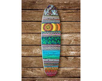 """Handgemalt, 22'' Mini Cruiser Skateboard - """"Diese fünf Ebenen - A Forest By The Sea"""" - von Maia Walczak"""