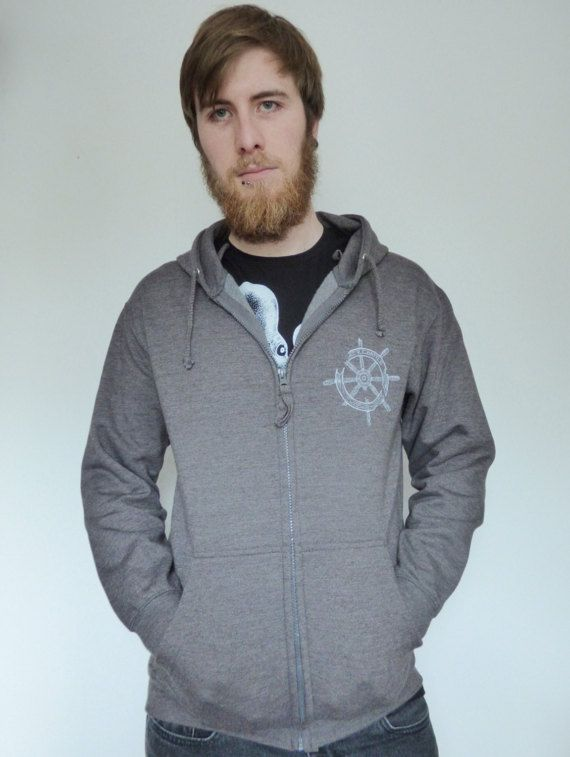 Lost at sea Unisex Zip up hoodie with broken ship wheel and Octopus print jMyZ3T