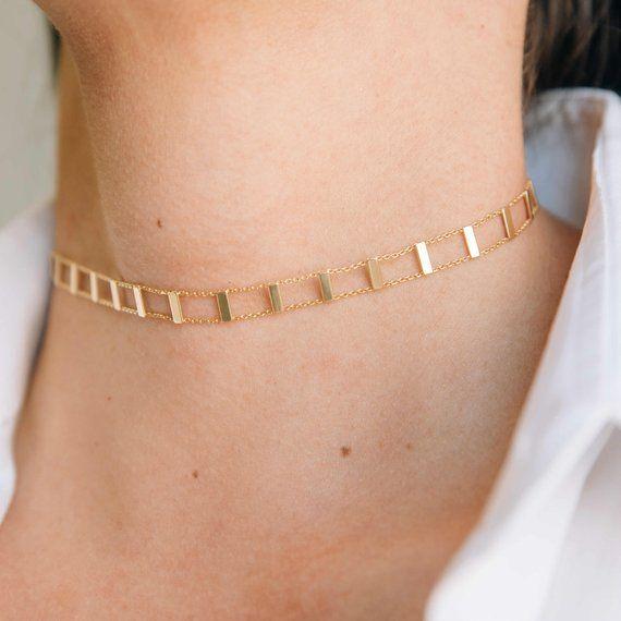 14k fancy light choker necklace adjustable up to 16