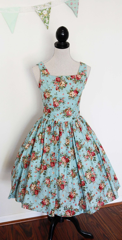 Floral bridesmaid dress blue flower print mix and match size x