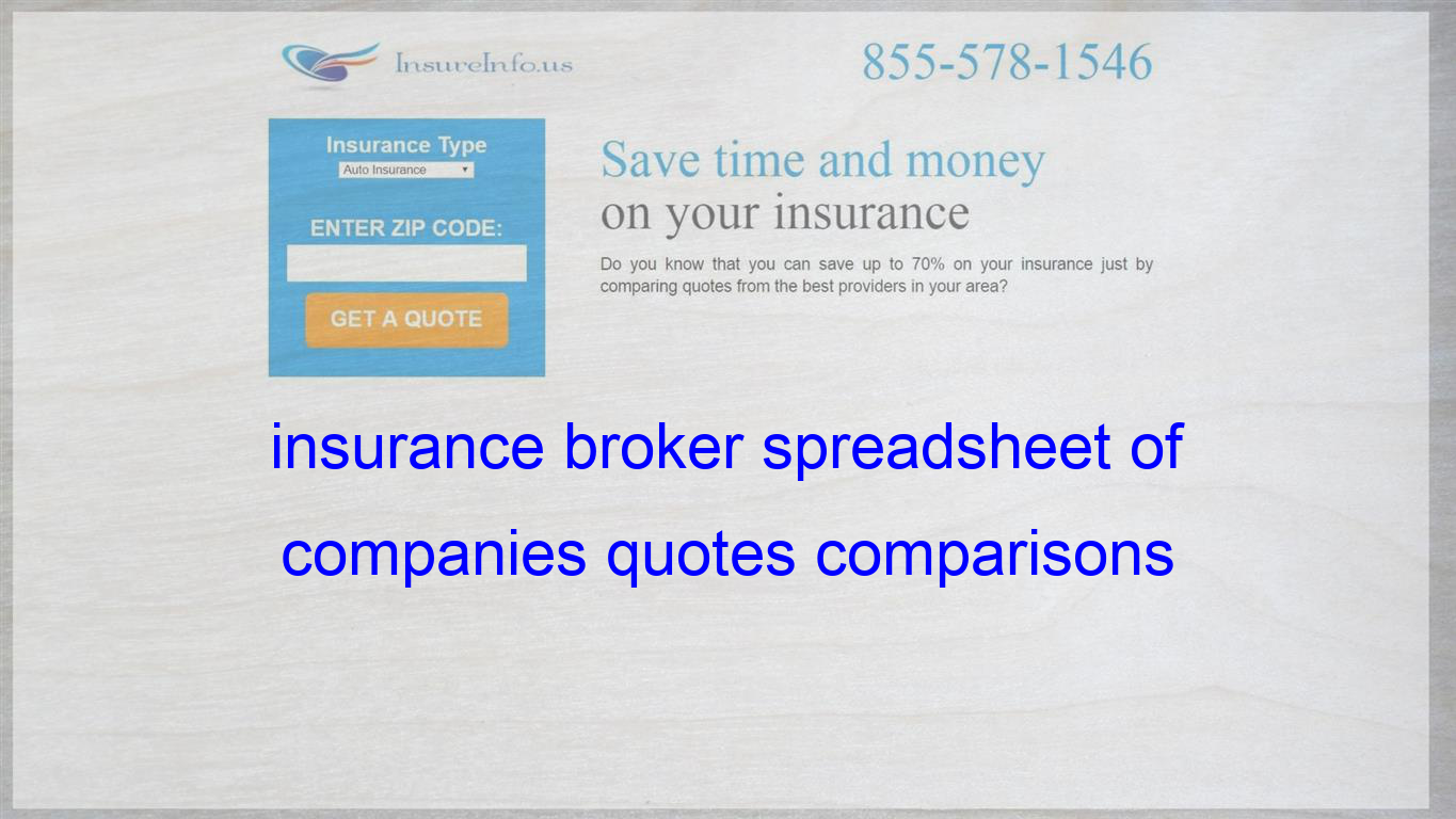 Insurance Broker Spreadsheet Of Companies Quotes Comparisons