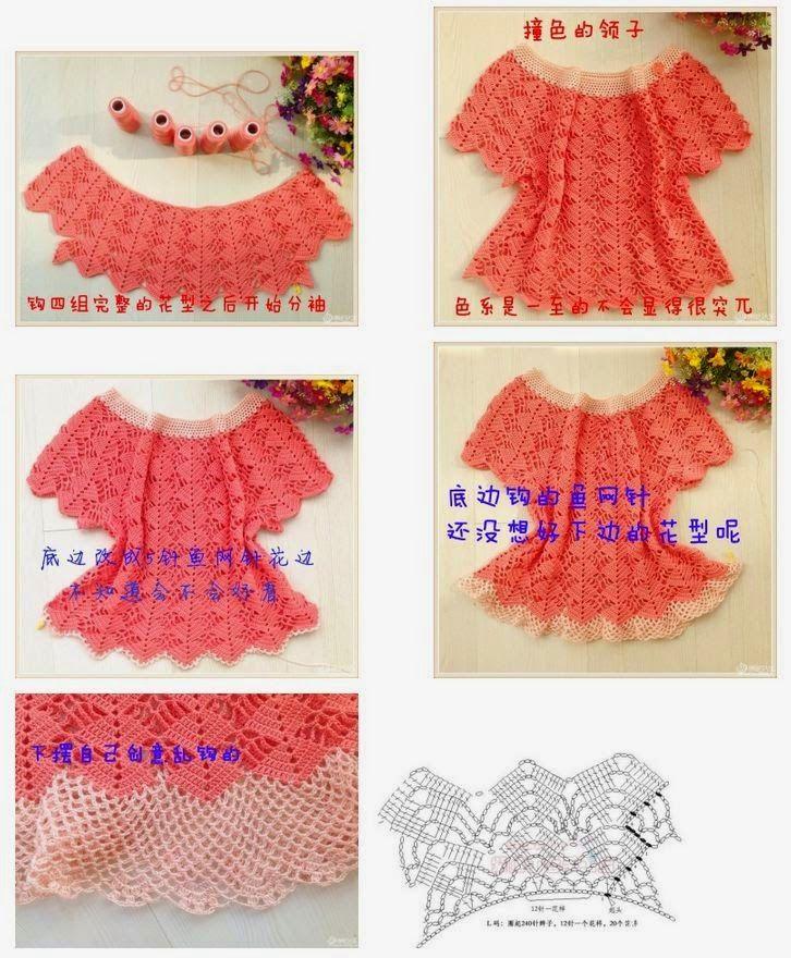 Patrón crochet de delicada blusa talle grande   Crochet y dos agujas ...