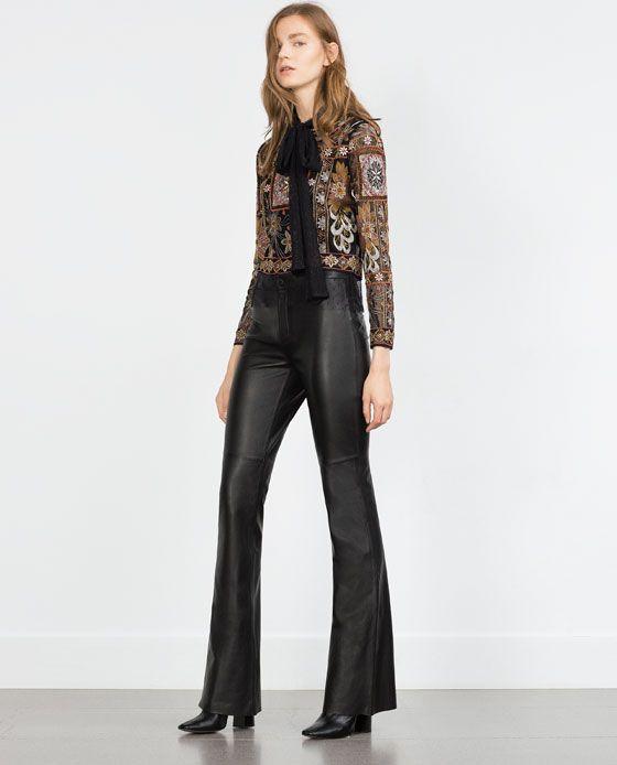 pantalon piel campana zara