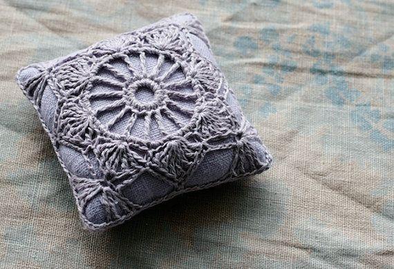 Linen  pincushion  crochet motif by namolio on Etsy, $15.00