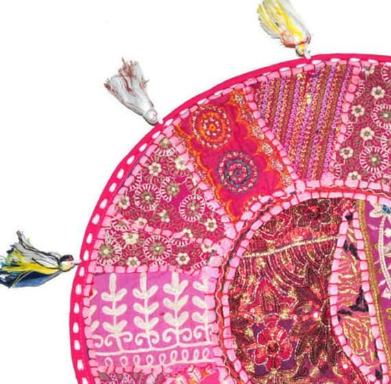 "22"" Pink Indian bohemian seating pouf round meditation vintage hand embroidered cotton handmade throw pillow patchwork floor pillow kids"