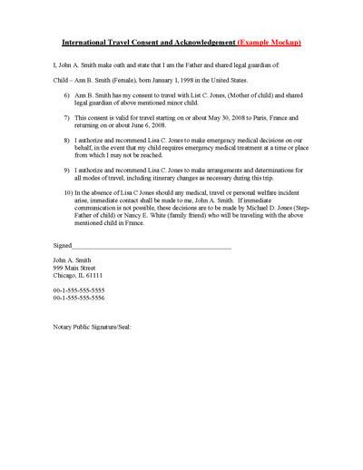 Child International Travel Consent Form Child, Ireland and - permission to travel letter template