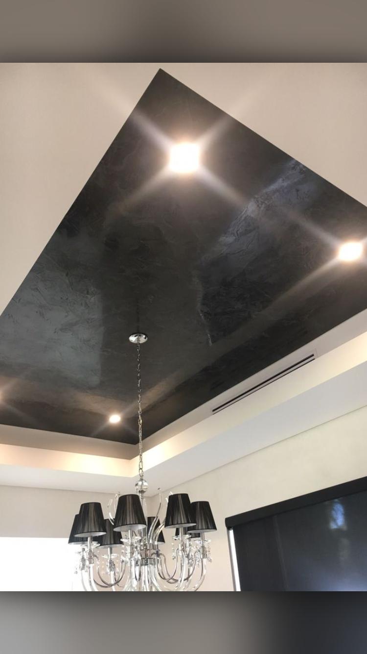 Black Venetian Plaster On The Ceiling