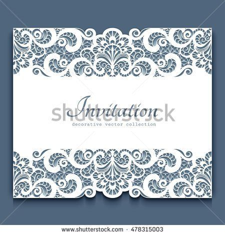 Elegant cutout paper frame with lace border ornament, vector