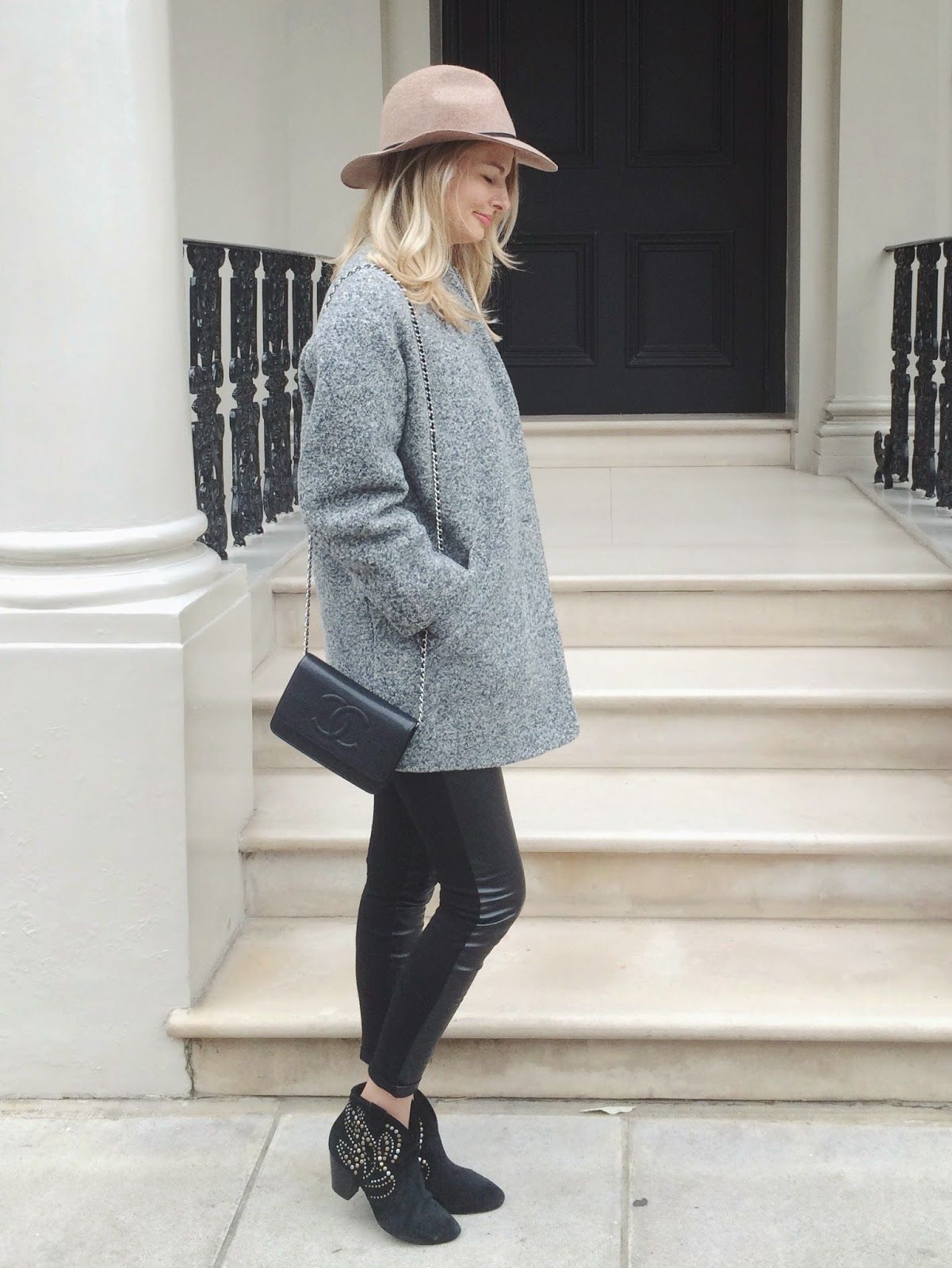 93d2c401cb081 london street style, outfit of the day, grey coat, grey iro coat, blonde  hair, tan fedora hat, black and grey outfit