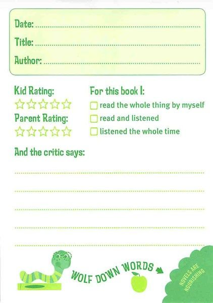 kid's book review to do at home with parent