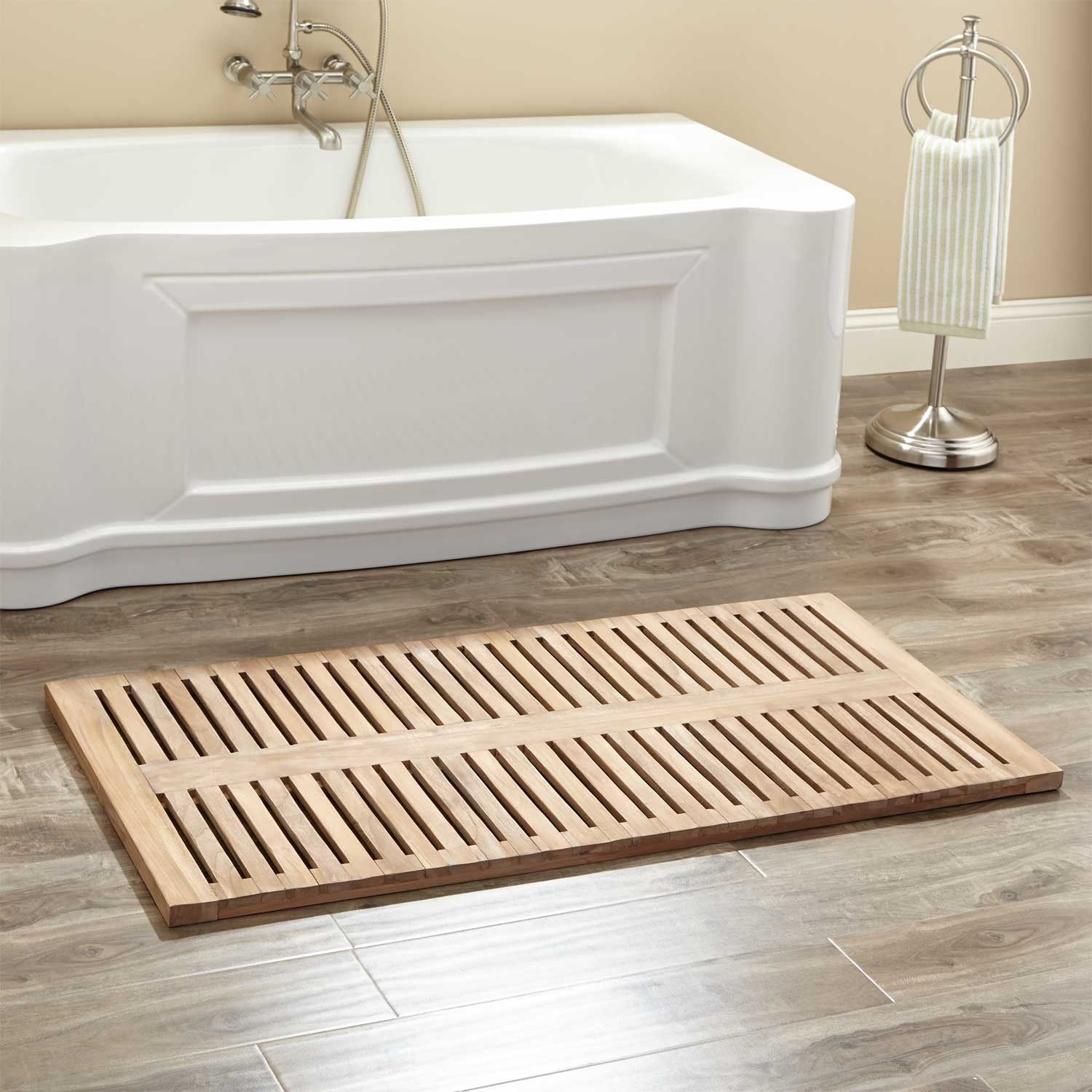 "47"" x 24"" Rectangular Teak Shower Mat - Bathroom"