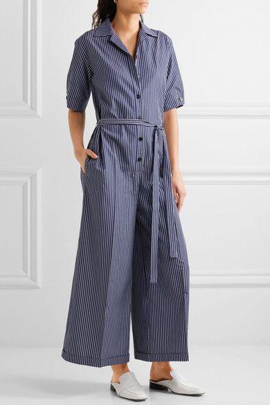 0d3a71303ebc Stella McCartney - Striped Cotton Jumpsuit - Blue