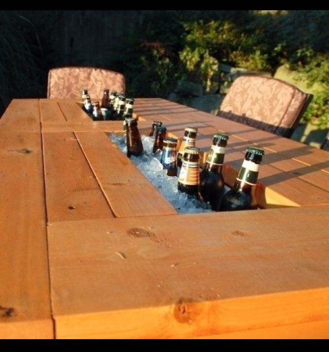 Outdoor Table with Beverage Opening