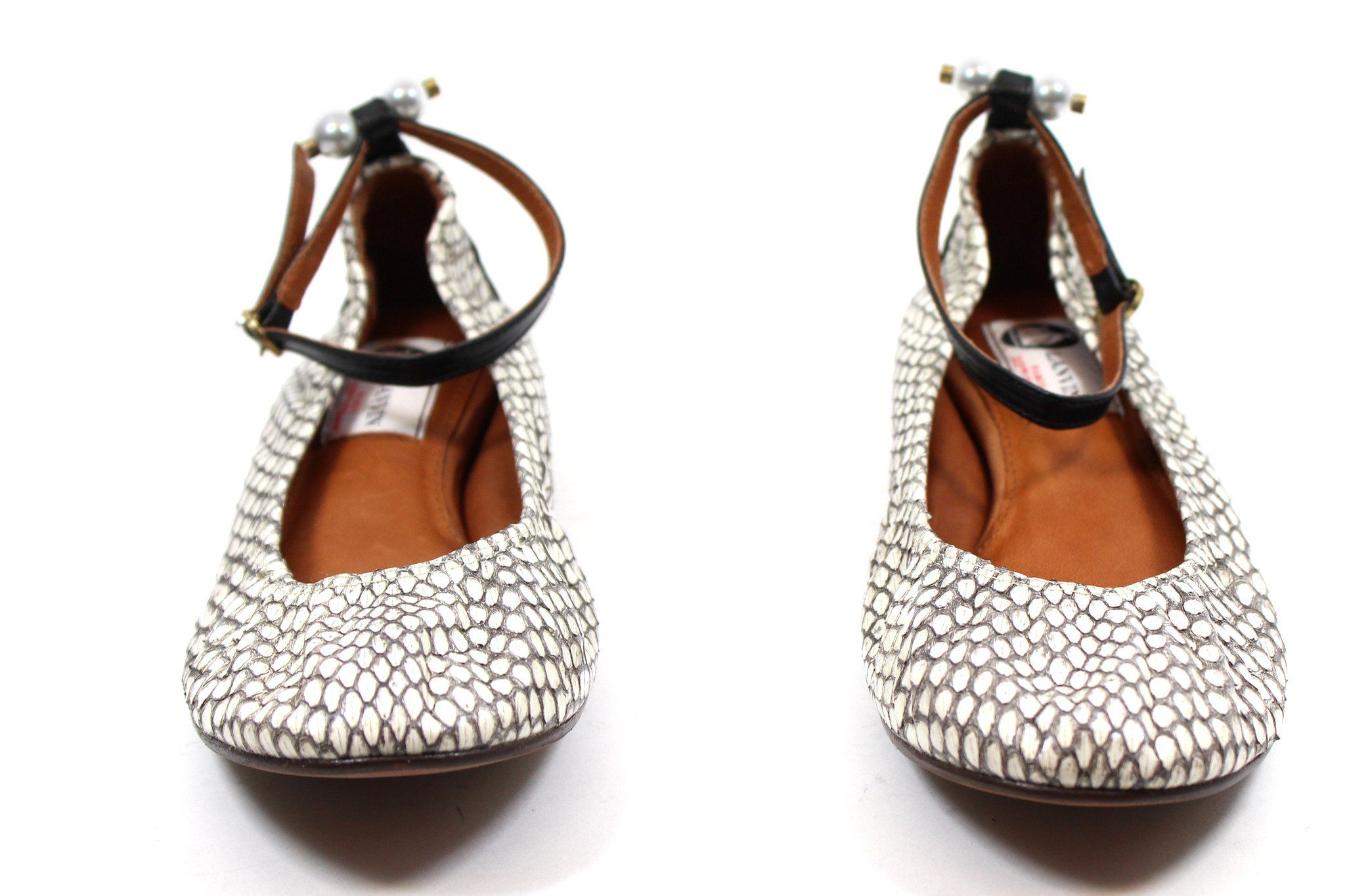 18768a95994 Lanvin Snakeskin Pearl Detail Ballet Flats w  Ankle Strap (Size 38.5 ...