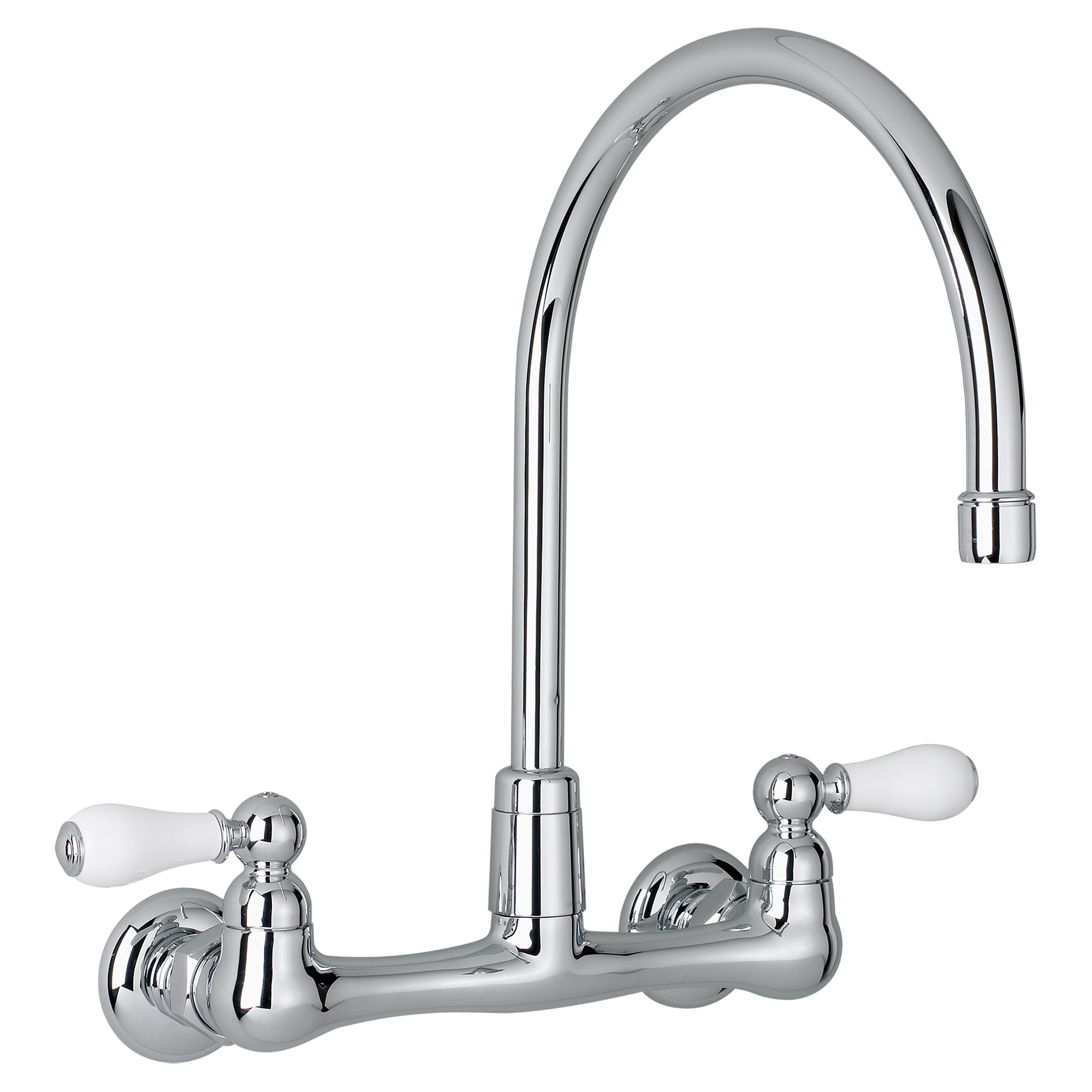 The Heritage 2 Handle High Arc Wall Mount Kitchen Faucet Brings