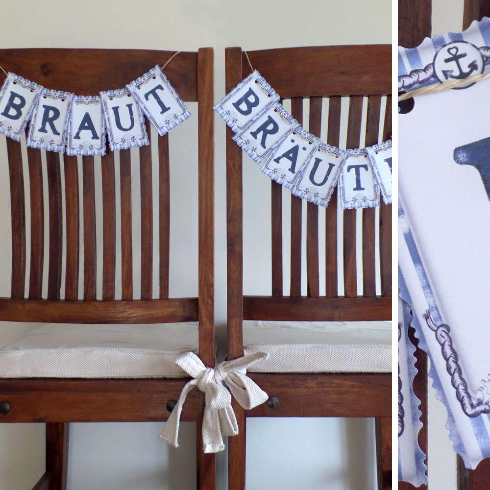 Braut Brutigam Stuhldekoration Blau Weiss Vintage Maritim Mit