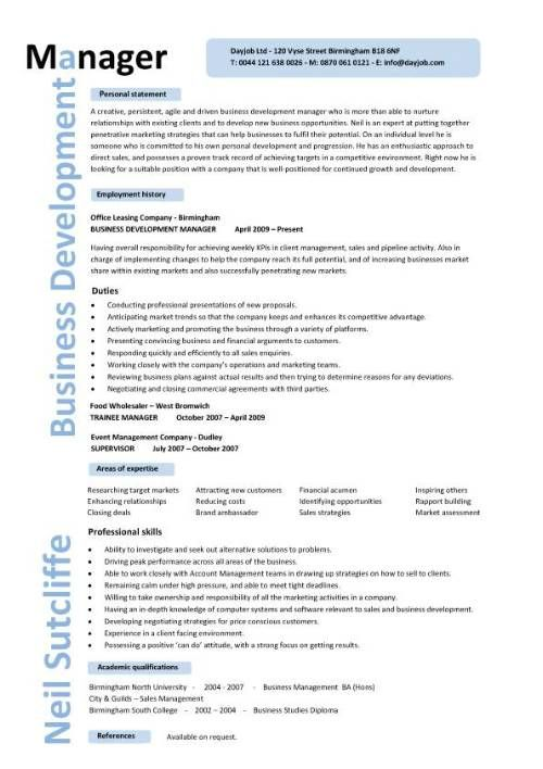 Business development manager CV template, managers resume - resume for marketing manager