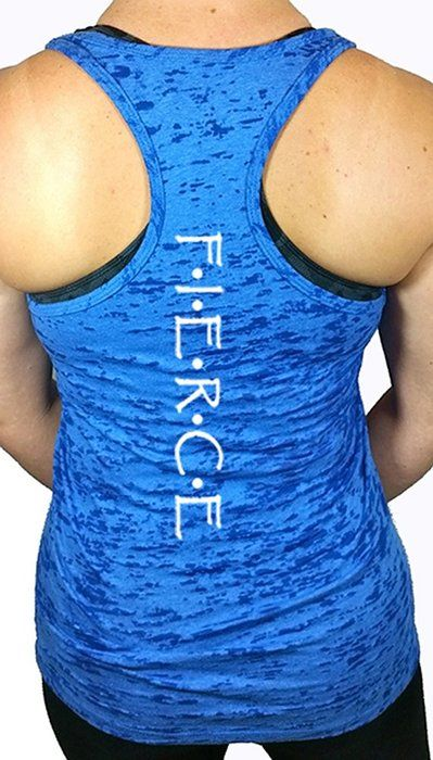 Shine Athletica Women's Fierce Workout Burnout Racerback Tank Top S Blue