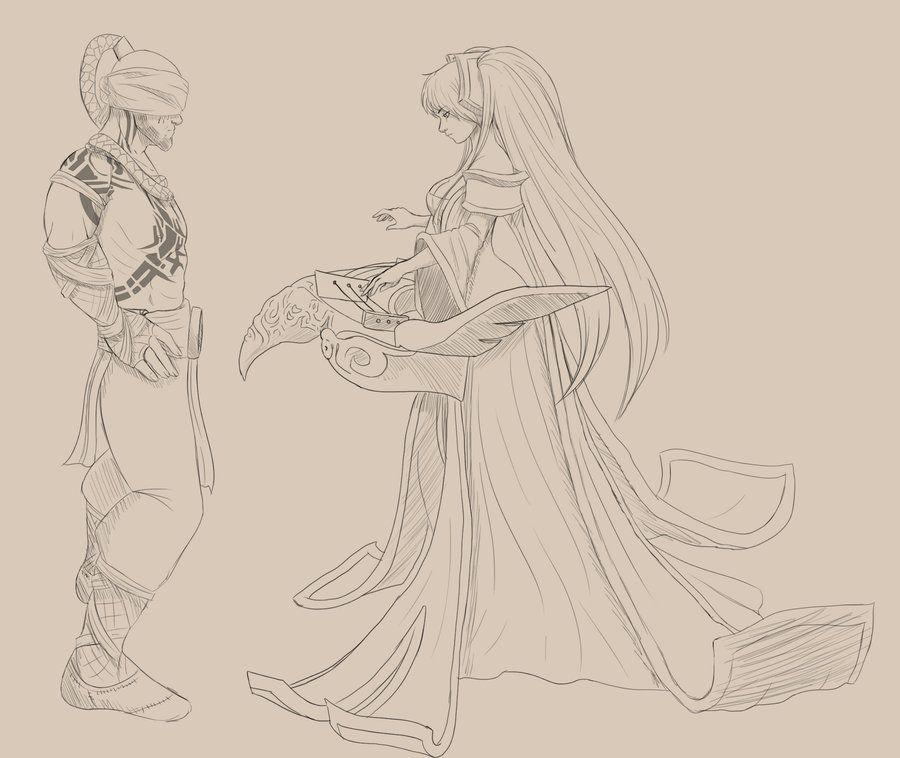 Lee sin and Sona - Sketch by MiaZueSepp.deviantart.com on @deviantART