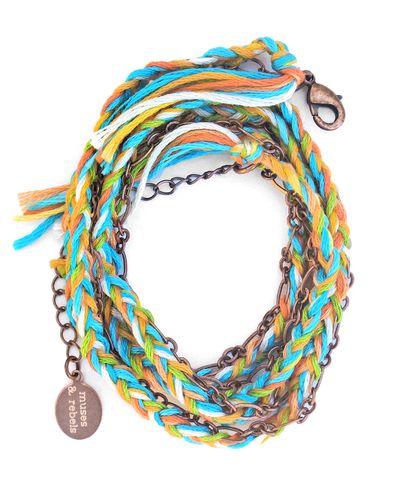 Braided thread and chain wrap bracelet.