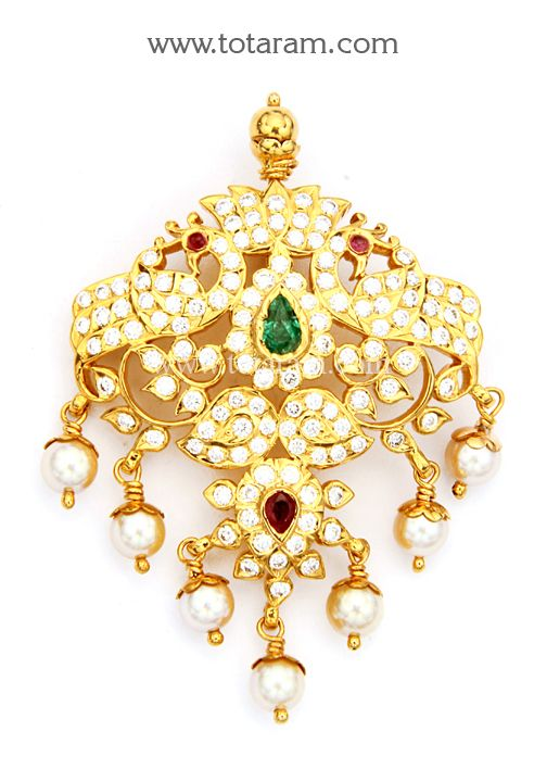 22K Gold Diamond Pendant with Ruby Emeralds Pearls DP412