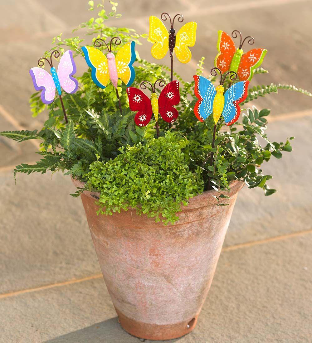Butterfly Garden Stakes, Set of 6 | Decorative Garden Accents ...