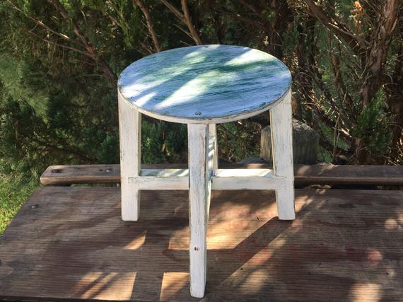 Pleasing Wooden Step Stool Off White Distressed Round Stool Andrewgaddart Wooden Chair Designs For Living Room Andrewgaddartcom